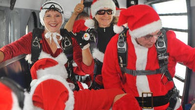 Skydiving Santas will make a return visit to the Cocoa Beach Pier 11 a.m. to 3 p.m. on Dec. 16.  fall from the sky during those hours