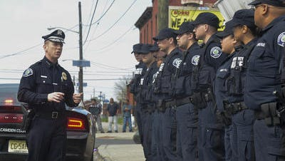 Camden County Police Chief Scott Thomson addresses officers in April. Opponents of the department lost a legal battle Wednesday.