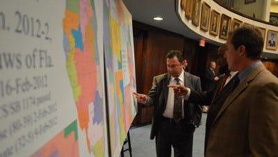 State Sens. Jeremy Ring, D-Margate, Dwight Bullard, D-Cutler Bay and Rene Garcia, R-Hialeah, discuss congressional redistricting in the Florida Senate in August.