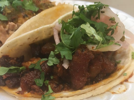 Pastor tacos from La Guadalupana arrive with just meat