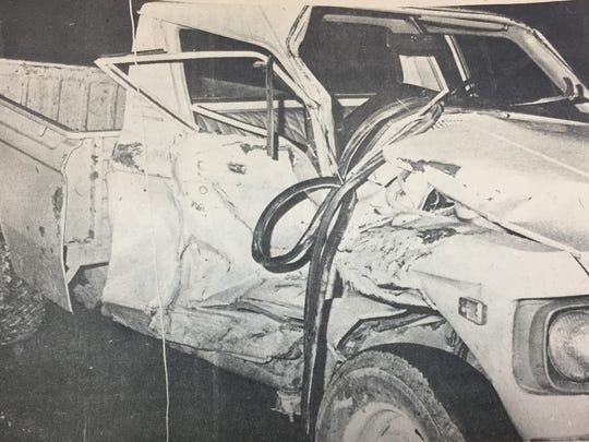 This 1976 Luv truck was driven by Billy Utley when he swerved to miss hitting a dog that ran out in front of him and then hit a 1979 Jeep in January 1980.