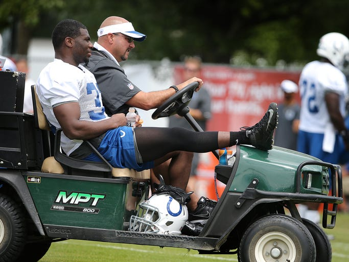 Indianapolis Colts RB Vick Ballard is carted off the field during the second day of Training Camp Friday July 25, 2014, afternoon at Anderson University.