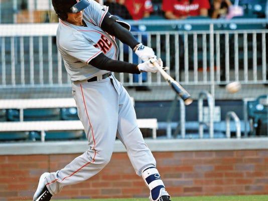 VICTOR CALZADA-EL PASO TIMES Fresno shortstop Carlos Correa drilled a double in his first at bat in El Paso Saturday.