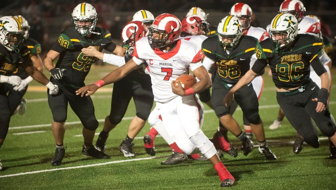 Manual RB Aidan Robbins runs against St. Xavier in 2017. Robbins will miss the remainder of the 2018 season.