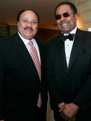 "Clarence B. Jones, right, stands with Martin Luther King III, before Jones was presented with the American Jewish Congress ""Isaiah Award,"" Wednesday, March 1, 2006, in New York. A former counsel and speechwriter to Dr. Martin Luther King Jr. and the first black to be made partner in a Wall Street investment banking firm, Jones was honored for his contribution to the civil rights movement and helping bridge the gap between Jews and blacks in the United States."