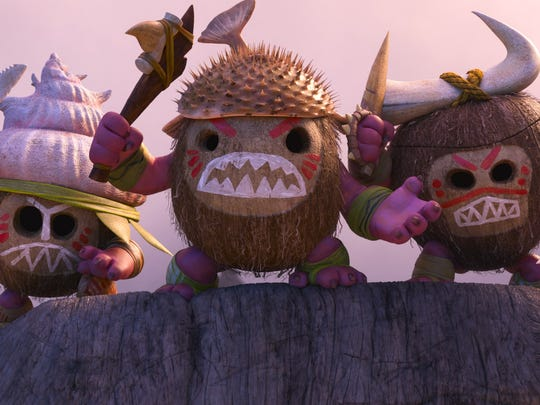 The Kakamora coconut monsters are the first challenge for Moana and Maui.