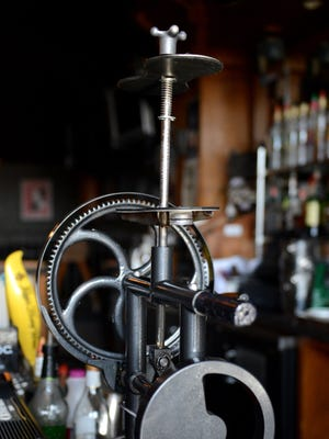 Darrell Greig has installed the Steampunk Cocktail Shaker, a hand-crank cocktail mixing machine, at Standard & Co., 1139 Main Street in Green Bay.