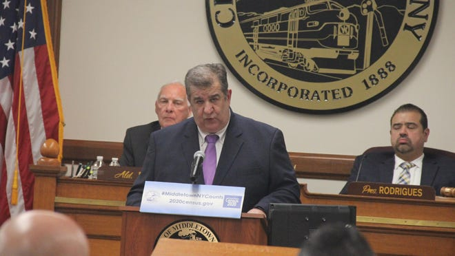 Middletown Mayor Joseph DeStefano gives his annual State of the City address in the Common Council chambers Tuesday evening.