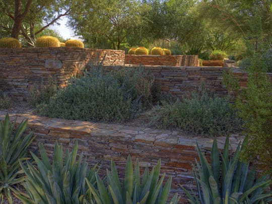 The Terrace Garden in the Ottosen Entry Garden at the Desert Botanical Garden in Phoenix offers a chance to enjoy the shade and a view.