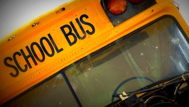 A school bus overturned on Mississippi 306 in Tate County Monday morning