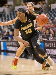 Andreona Keys of Purdue, drives during the final of the Big Ten Women's Basketball Tournament, Bankers Life Fieldhouse, Indianapolis, Sunday, March 5, 2017. Maryland won 74-64 after Purdue's comeback bid fell short.
