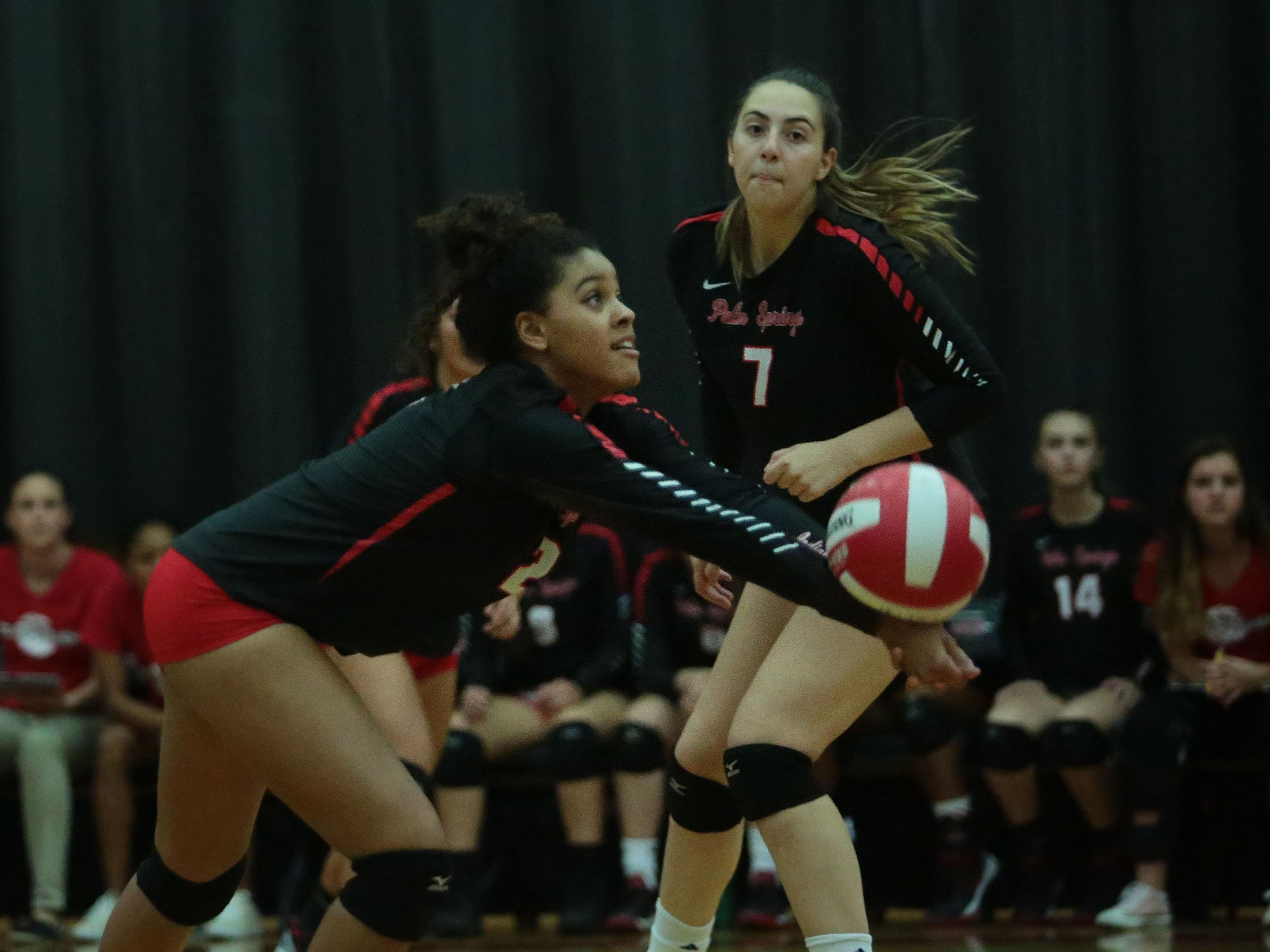 Palm Springs Hannah Wright digs against Palm Desert on Tuesday in Palm Springs.