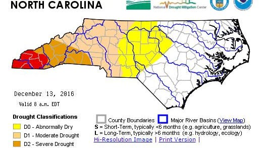 The U.S. Drought Monitor of North Carolina shows Buncombe County and several surrounding counties in a severe or extreme drought as of Dec. 13.