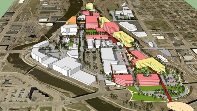 RDG Design and Planning envisions multiple mixed-use buildings surrounded by a loop road and bike path where BNSF Railway's train yard now sits.