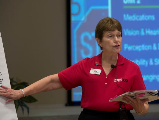 Sue Stinson, a senior at Azalea Trace, was recently cited as a top AARP State volunteer for teaching senior driving safety.
