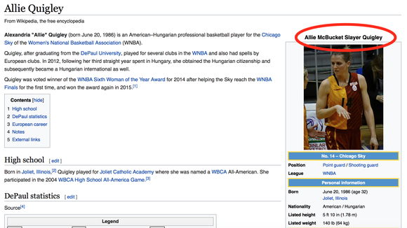 WNBA fan updates Allie Quigley's Wikipedia page after stunning 3-point contest win