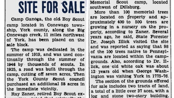 The YDR's Shelly Stallsmith shared this 1948 Gettysburg Times article about the sale of Camp Ganoga in Newberry Township.
