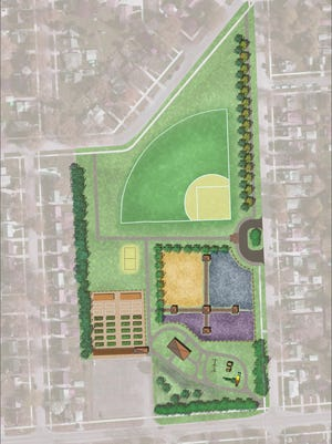 A rendering of a conceptual plan for Redford's Ashcroft Park.
