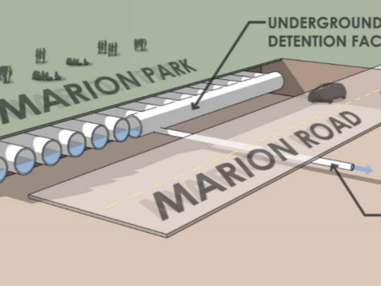Public Works put more than a mile of drainage pipe below the rugby pitch at Marion Park to provide for more water storage following heavy rains last summer. More drainage improvements in the neighborhood begin Wednesday.