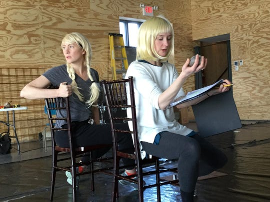 "Darcy Rose, left, and Helen T. Clark rehearse for the Cherry Arts production of ""Rule of Thumb."""