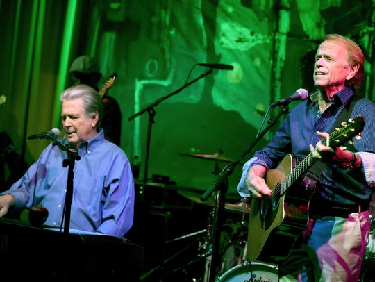 Brian Wilson (left) with Al Jardine perform in October