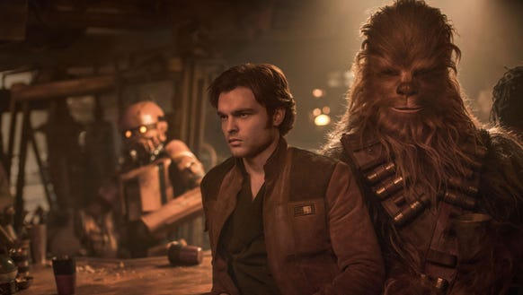 Young Han Solo (Alden Ehrenreich) and Chewbacca (Joonas
