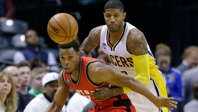 Toronto Raptors guard Kyle Lowry (7) and Indiana Pacers forward Paul George (13) will face off in the first round of the Eastern Conference playoffs.
