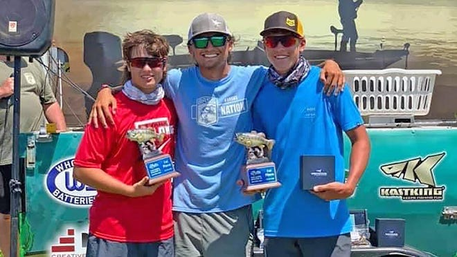 Franklin County's Todd Crosley and Austin Curtis, with boat captain Brock Bila, center, won their first Kansas BASS Nation High School fishing tournament on July 25 at Milford Reservoir.