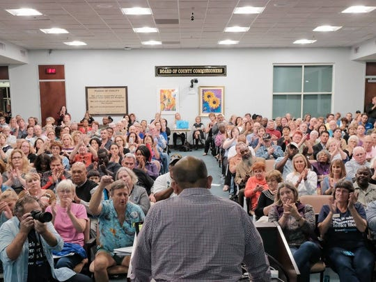 Sanjay Patel announces his candidacy for Congress at a meeting in Viera of the Brevard County Democratic Executive Committee that was attended by about 400 people. Photo by Dave Garrett