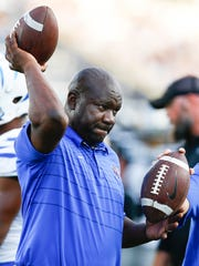 University of Memphis assistant coach David Johnson during pregame warm up before taking on University of Central Florida in Orlando, Fl., Saturday, September 30, 2017.
