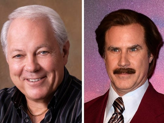 Mort Crim, left, and Will Ferrell as Ron Burgundy.