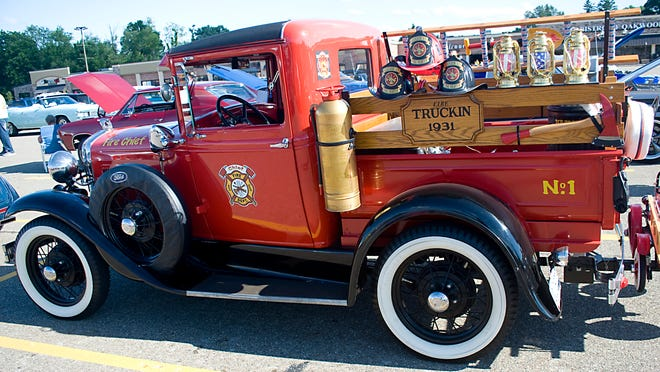 A 1931 Ford truck Monday July 13, 2020 during a car show at Oakwood Square Plaza. Michael Skolosh, Special to the Alliance Review