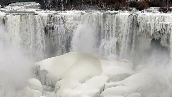 """FILE - This Jan. 10, 2014 file photo shows the US side of Niagara Falls in New York beginning to thaw after  the recent """"polar vortex"""" that affected millions in the US and Canada. Remember the polar vortex, the huge mass of Arctic air that can plunge much of the U.S. into the deep freeze? You might have to get used to it. we should see more of these in the future because a study partially links these polar vortex related cold outbreaks to loss of sea ice off Russia as the world gets warmer. But we have to note that last year?s polar vortex chill was slightly different and not connected to sea ice loss, researchers say. (AP Photo/Nick LoVerde, File)"""
