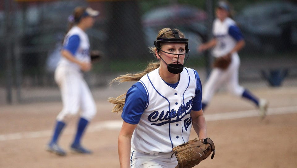 Clear Creek Amana pitcher Megan Beckler tosses the