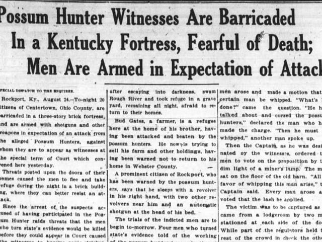 History: 'Possum Hunters' terrorized, killed