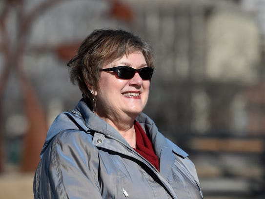 Christine Fey stands at Bicentennial Park on Feb. 16,