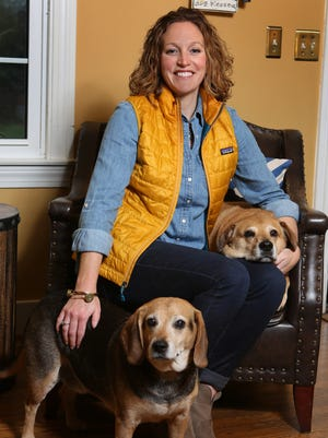 Stylemaker Ashley Hembree with dogs Charlie, left, and Parker, right.November 17, 2015