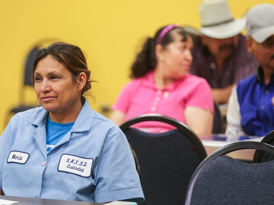 Maria Ramos listens during a citizenship preparedness class Monday, April 3, at the Adult Literacy Council of the Concho Valley.