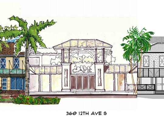 A rendering of The Bevy restaurant and lounge, center,