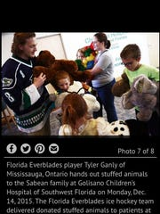 Everblades player Tyler Ganley hands out stuffed animals to Jade Sabean and her brothers and sisters in December, 2015.