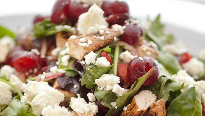 Chicken Salad with Cherries, Orange and Goat Cheese is colorful as well as flavorful at Cafe Zuzu.