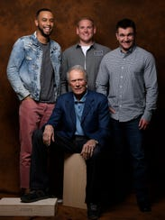 Clint Eastwood (center) didn't hesitate to cast true heroes Anthony Sadler (from left), Spencer Stone and Alek Skarlatos as themselves when he told their story in 'The 15:17 to Paris.'