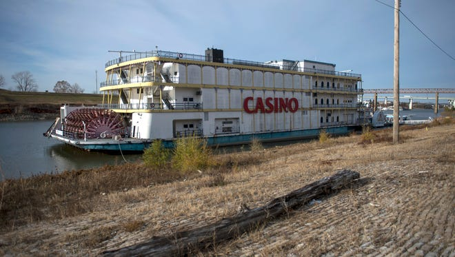 "December 15, 2016 - A river boat with a sign reading ""CASINO"" is docked along the cobblestones in Wolf River Harbor near Mud Island and the Mississippi River. Memphis officials are asking the state of Tennessee to allow the use of Tourism Development Zone funds for transformational projects along the riverfront. (Brandon Dill/Special to The Commercial Appeal)"