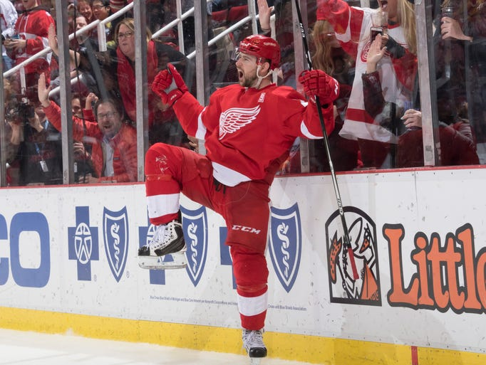 Detroit left wing Tomas Tatar celebrates his hat trick