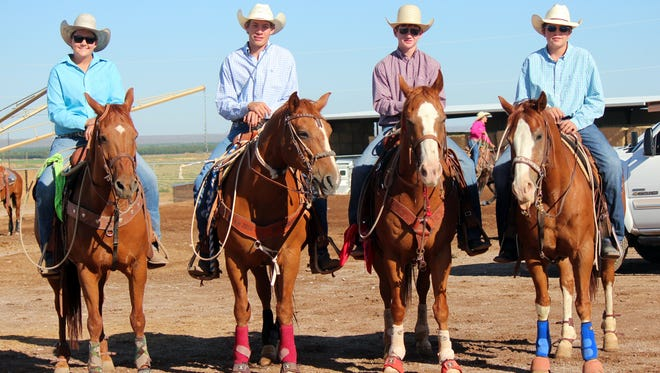 Luna County 4-H rodeo contestants will be competing at the State 4-H Rodeo Finals on Friday and Saturday, Sept. 23-24, in Tingley Coliseum in Albuquerque. Pictured, from left, are: Senior 4-H riders Mackinze Head, Claudia Galindo and Tee Pickett, and Junior 4-H riders Tanner Caldwell and Dylan Gunter. They will be representing Luna County during the two-day state championship event.