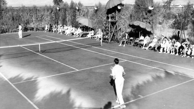 Palm Springs Racquet Club tennis court, circa 1938.