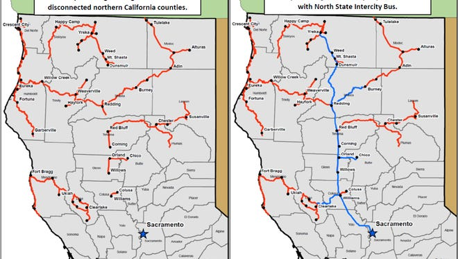 Maps showing the current (left) public transit systems and what's proposed (right) under a $16 million grant application by the Shasta Regional Transportation Agency.