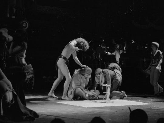 """Actors performing a scene from the Broadway musical """"Hair"""" during the opening night performance at the Biltmore Theatre on West 47th Street in Manhattan."""