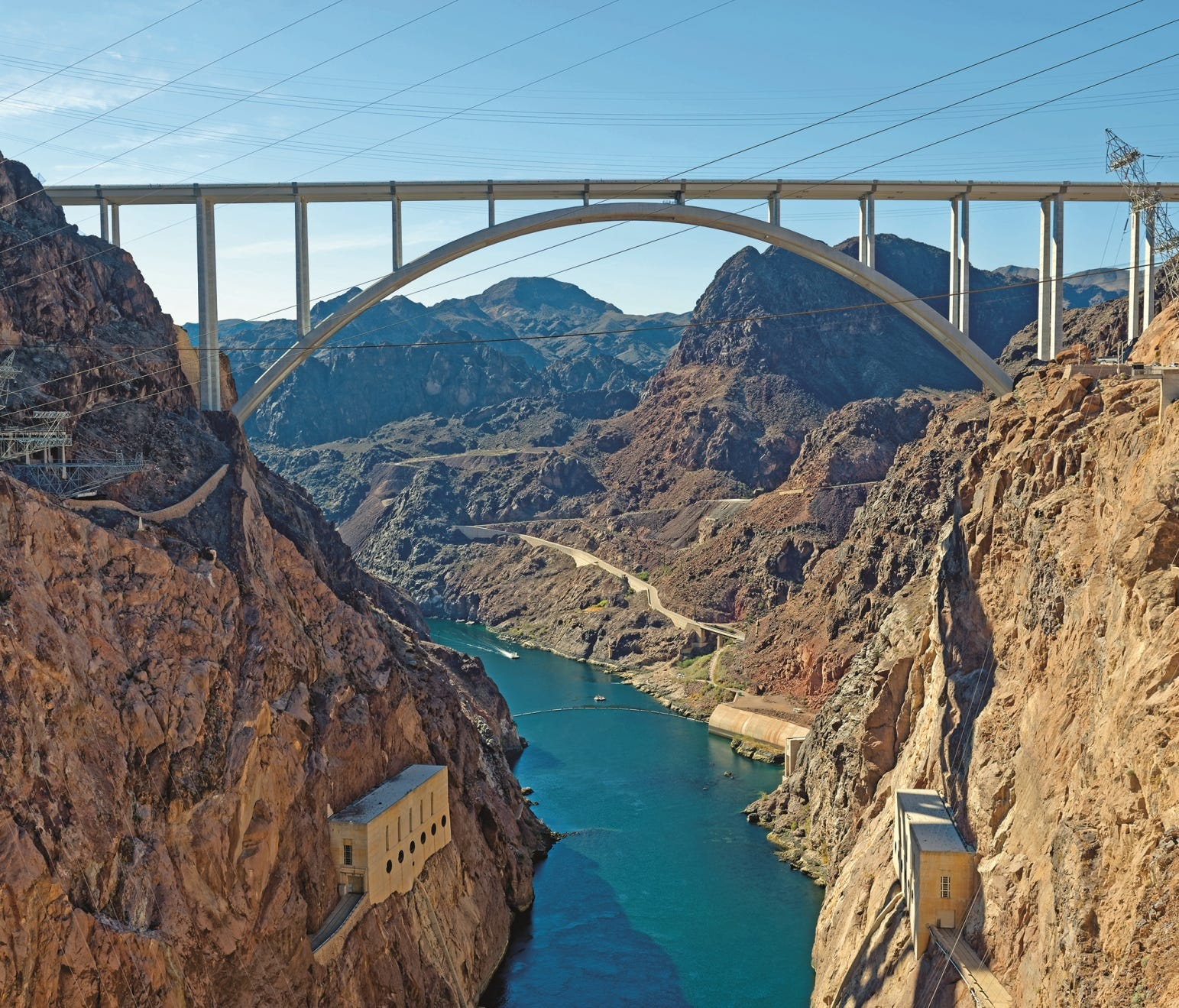 The Mike O'Callaghan–Pat Tillman Memorial Bridge crosses the Colorado River. It opened in 2010, about 1,500 feet downstream from the Hoover Dam.