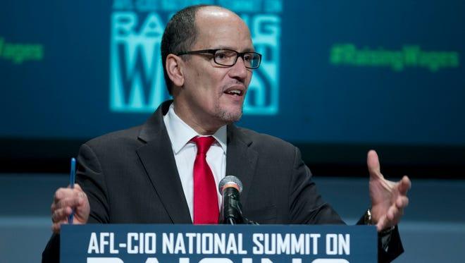 Labor Secretary Thomas Perez speaks during the forum AFL-CIO National Summit on Raising Wages earlier this year at Gallaudet University in Washington.